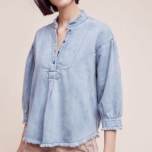 ANTHRO// HOLDING HORSES • Frayed Chambray Henley L